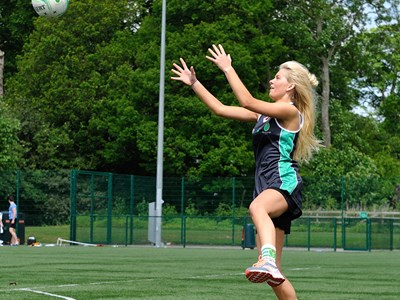 Myerscough netball student preparing to catch the ball